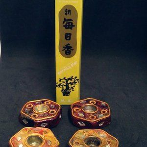 Set of 4 Incense Stick Cone  Holders w/Patchouli